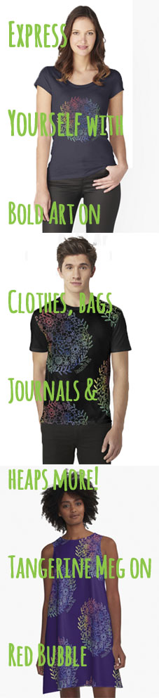 "Tall image with 3 people wearing clothes printed with Tangerine Meg design ""rainbow flowers"" and hand-written looking font for header text"