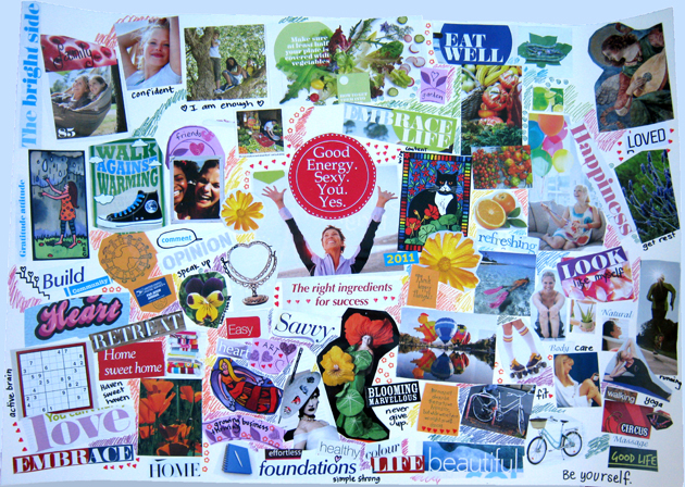 snap shot of a vision board collage with a white background and many cuttings from magazines of pictures, words and phrases