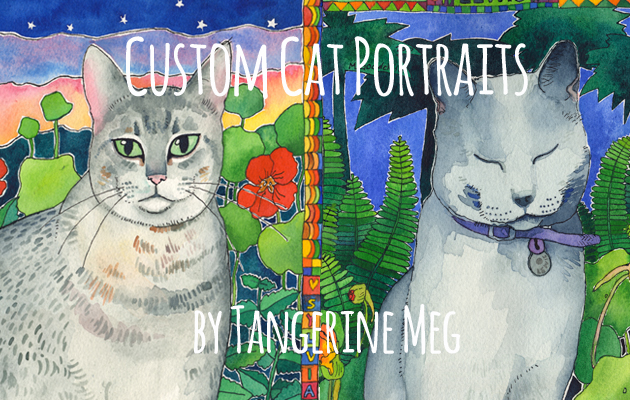 custom cat art pet portrait page header featuring 2 painted cat portraits