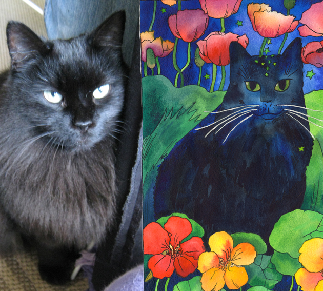 Pet Portrait from a photo of midnight black cat, Katie, nestled amongst blooming flowers.