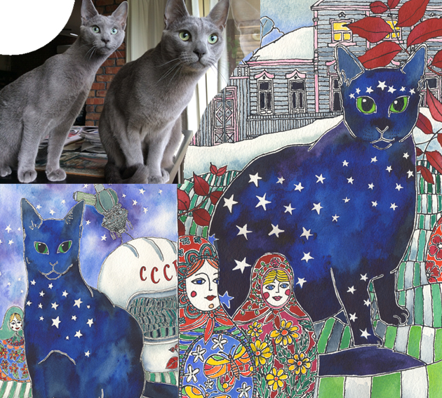 Vibrant Water colour portrait of the cats Lexi and Pavlov, who have stars on their mantels, and backgrounds that tell the story of their names.
