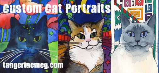 Cat Art Pet Portraits by Tangerine Meg