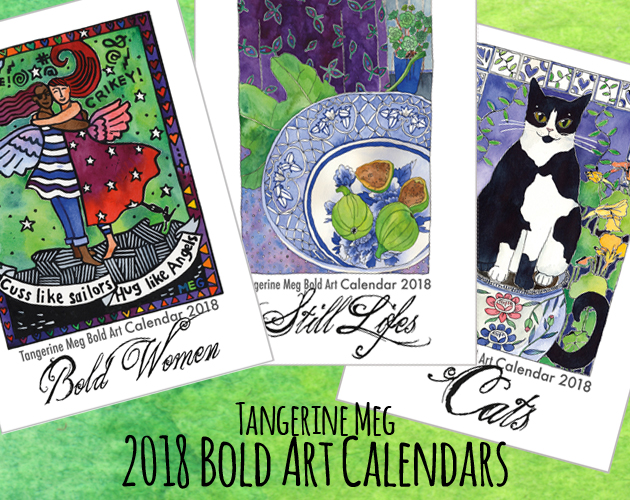 Three calendar covers arranged in a fan shape. The covers have artwork on three themes, Bold Women (showing 2 friends hugging), Still Lifes (showing a bowl with figs) and Cats (showing a black and white cat in a garden).