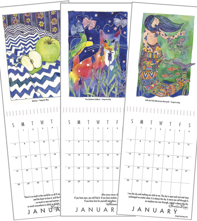 Three open calendars, showing artwork and dates. The left calendar has a picture of golden delicious apples on a zig zag fabric. The centre calendar has a rainbow cat flipping her tail at moths. The right picture has a patterned mermaid in green ocean.