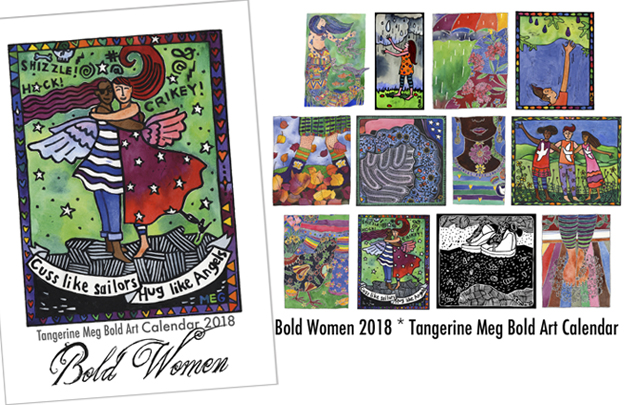 Cover artwork for Bold Women calendar showing 2 friends hugging. To the right are 12 thumbnail pictures indicating which artwork can be found inside the calendar.