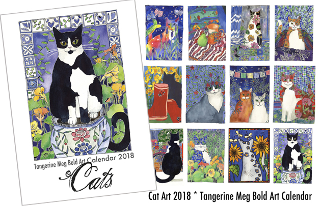 The cover of a cat art calendar is at left. This shows a black and white cat in a nasturtium garden. To the right are 12 images which will be found within the calendar for the 12 months.