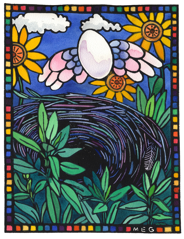 lino print showing an egg winging it's way from a nest which has sage in the foreground and sunflowers in the background