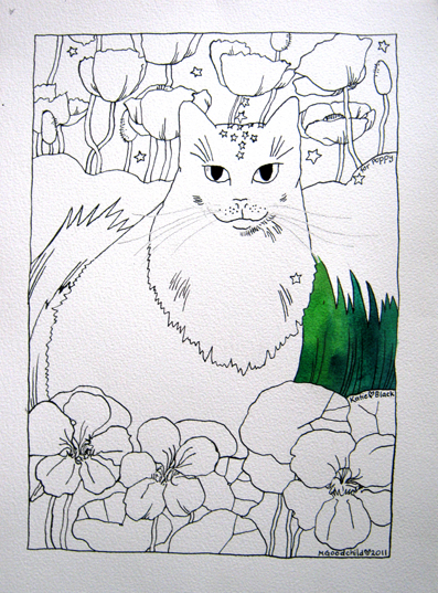 black outline drawing of cat in a garden with poppies and nasturtiums