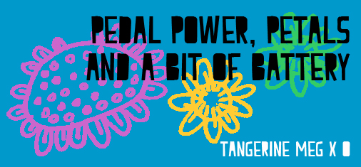 """Header image for """"Pedal Power plus battery"""" featuring flower drawings and chunky font"""