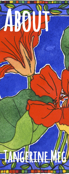 vibrant nasturtium pen and watercolour art with blue background and colourful patterned border