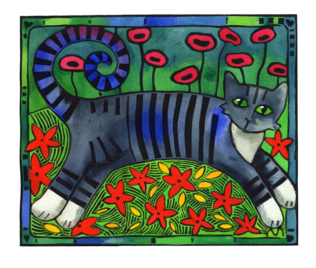 striped cat in a garden of poppies and orange ground cover - hand coloured lino print