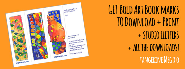 "Header image for ""Downloadable bookmarks"" featuring quirky Tangerine Meg artist drawings"