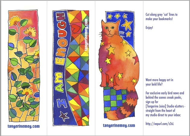 "3 downloadable bookmarks by Tangerine Meg; featuring ""I Am Enough"" affirmation, golden flowers and a fluffy orange starry cat"