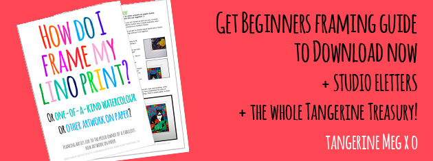 """Header image for """"Downloadable framing guide"""" featuring quirky Tangerine Meg artist drawings"""