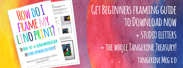 "Header image for ""Downloadable framing guide"" featuring quirky Tangerine Meg artist drawings"