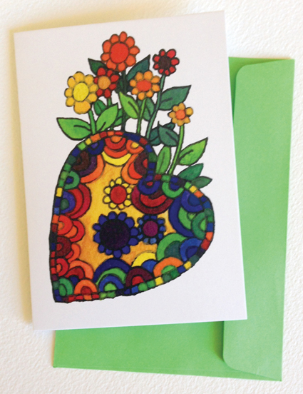 photo: blooming heart card with lime green envelope