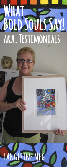 "Smiling lady wearing glasses and holding framed bright bold artwork; hand lettered looking font announces ""Testimonials""; tall format image;"