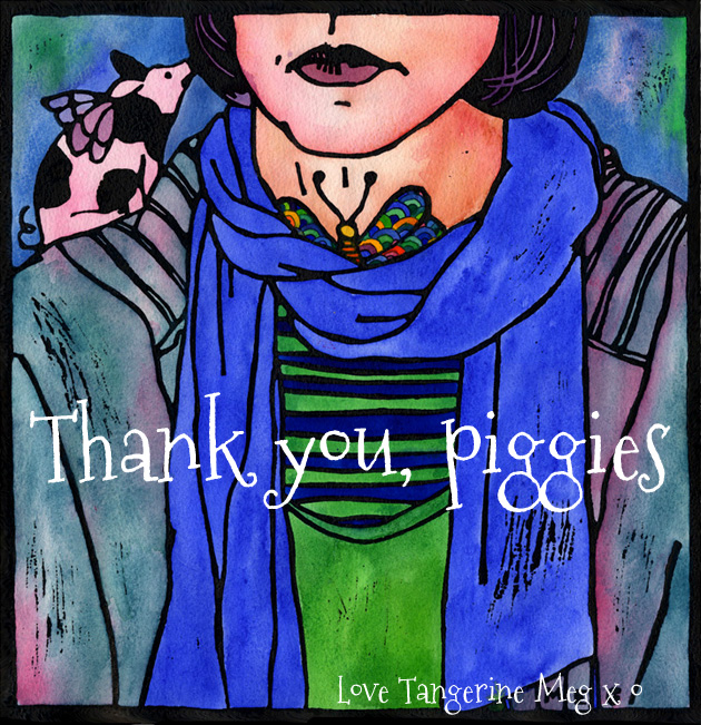 Header picture for Thyroid Art blog post: self portrait rugged up warmly, with a flying pig on my shoulder, and a jewel coloured butterfly on the front of my neck