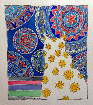 4-50 Birthday Bold Art Project_yellow daisy cat with blue and red curtain behind5