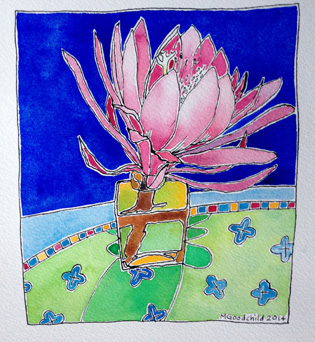 Pink-cactus-Flower-watercolour