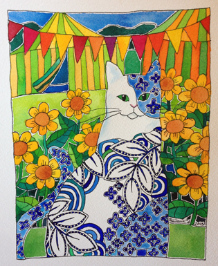 Blue-and-White-Cat-at-Garden-Fete