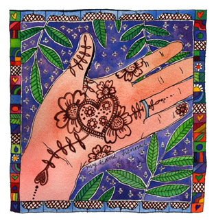 hand with henna painting within a watercolour painting. Patterned background fabric