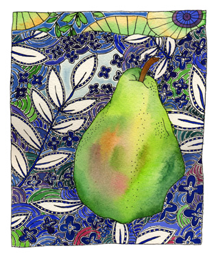 little green home grown pear on blue and white