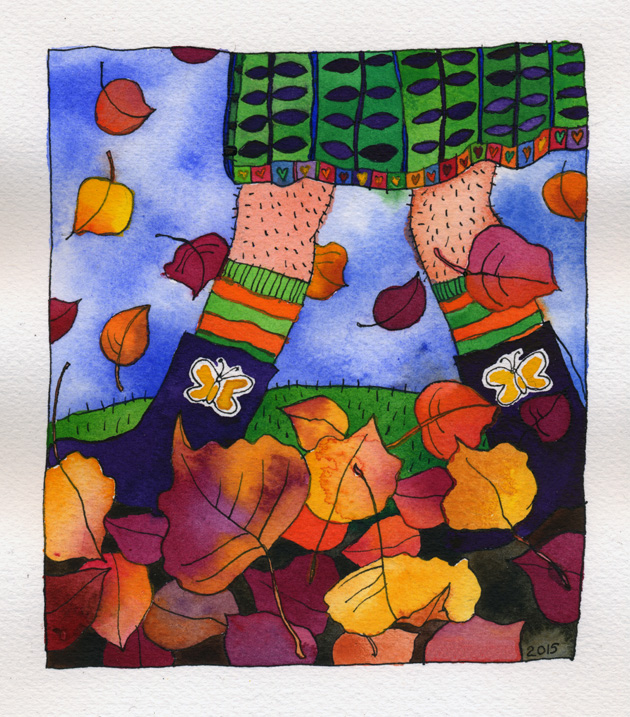Autumn_Walk. A watercolor of a lady in boots and a green dress with a light leg prickle kicking and shuffling through autumn leaves.