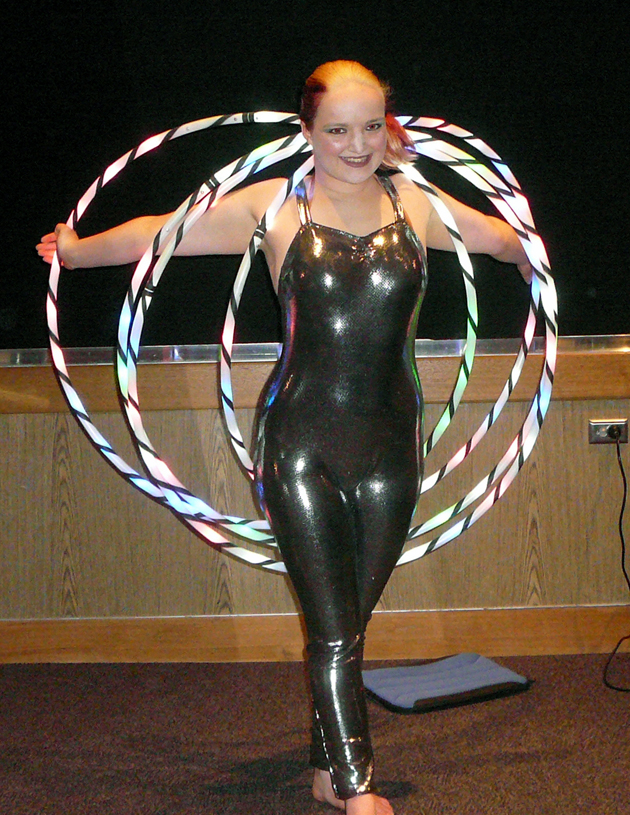 Kate Lawrence ready to perform with hoops