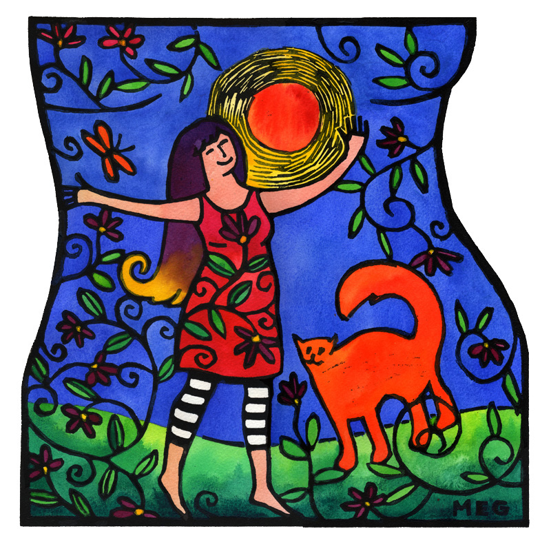 TangerineMeg_JoieDeVivre_hand-colored lino print. Woman and her cat familiar joyously against a blue sky with a raging  (but kindly warm too) sun.