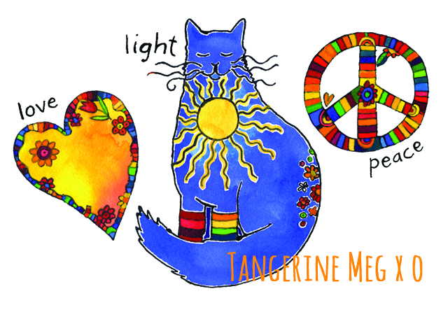Painted drawing of a flowery heart, a sunshiny cat and a stripey peace sign: love, light, peace