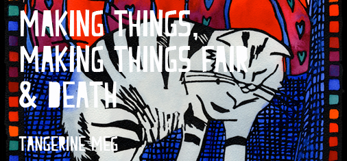 "Header image for ""Making Things, Making Things Fair and Death"" featuring Tangerine Meg lino print artwork ""Cat and Cusion"""