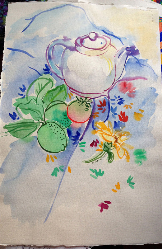 Loose still life with a white teapot arranged with garden produce on a flowered cloth