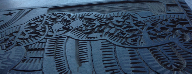 close up of lino print called A Veritable Garden