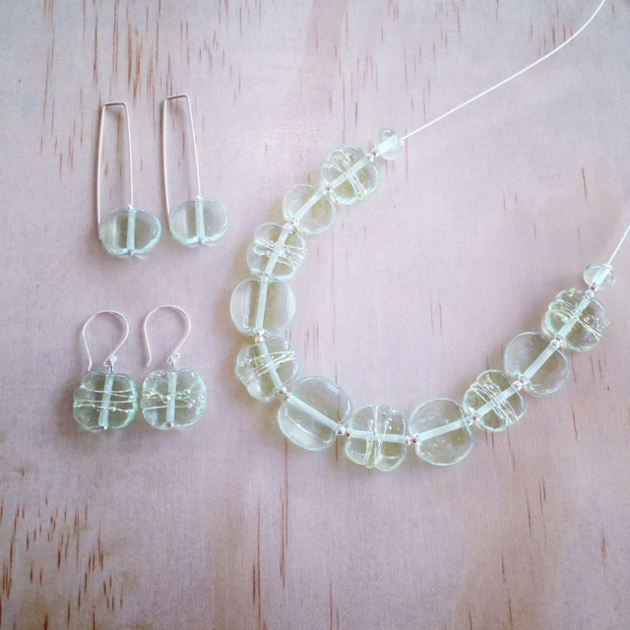 translucent green glass necklace and earring set