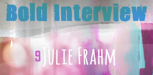 Textured background with chunky writing and hand lettered looking writing, announcing a bold interview with Julie Frahm aka. Aussie Jules