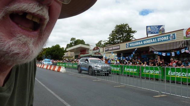 self portrait with mostache and beard, from beside the tour down under bike race area in the main street of Willunga, South Australia