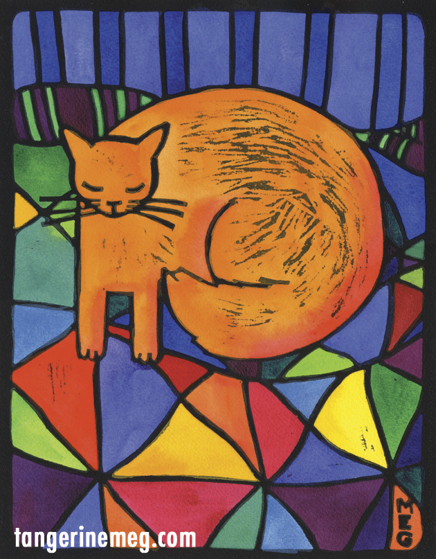bold lino print with black outlines, and handcoloured bright areas. Image is orange cat on harlequin blanket