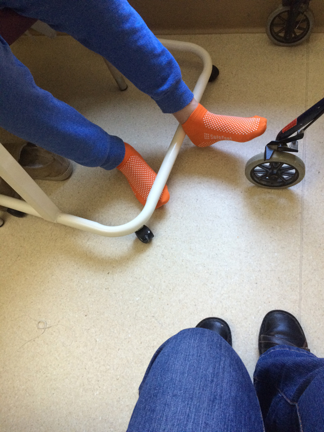 blue pants and orange socks make a hospital stay more colourful