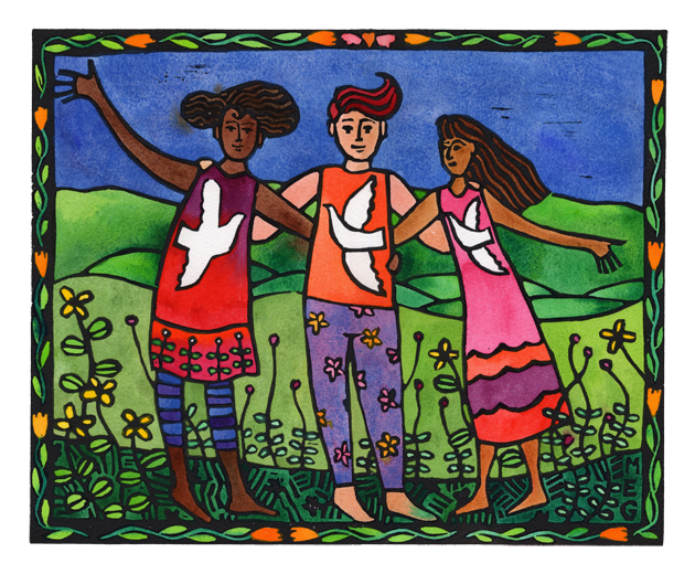 Finished lino print: Friends, Luka Pace and Joy (Light, Peace, Joy)