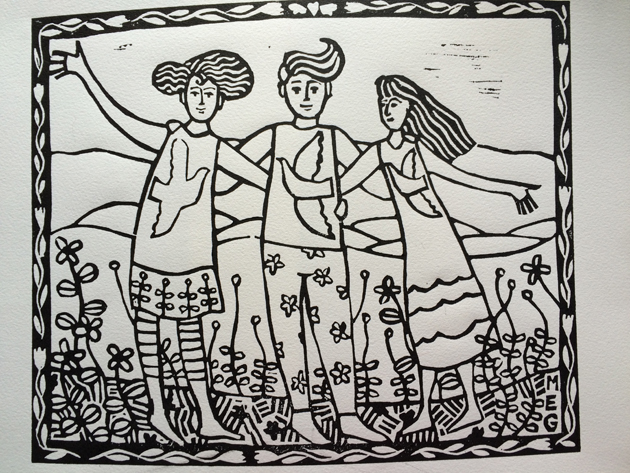 printed Friends lino print, not yet painted, features 3 friends in a garden with hills in the background