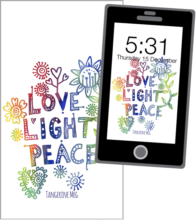 love light peace phone screen