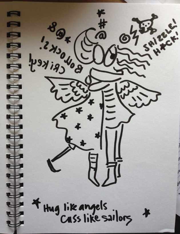 marker drawing of hugging angels with spiral sketchbook binding on the left
