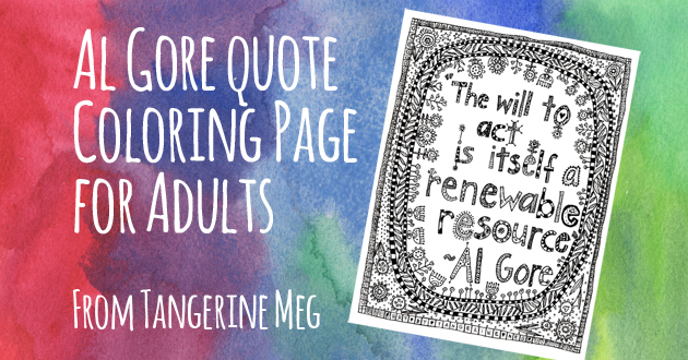 "watercolour-y red blue and green background with pale hand-lettered looking font saying ""Al Gore Coloring Page for Adults"" with a jauntily tilted image of black and white cat colouring page"