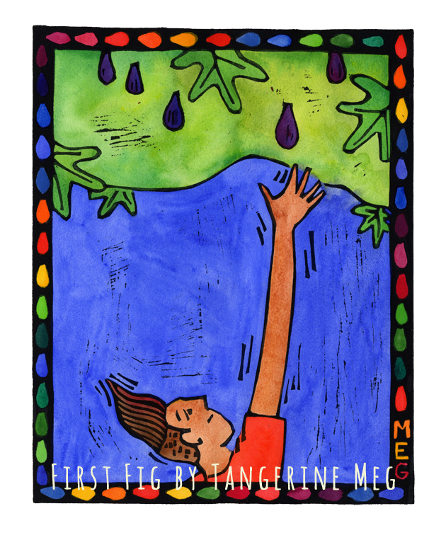 Hand coloured lino print with rainbow border. Subject is young man with funky hair reaching for purple figs hanging from a fig tree. Blue background.