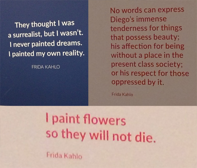 Photographs of frida kahlo quotes from 2016 exhibition at Art Gallery of NSW