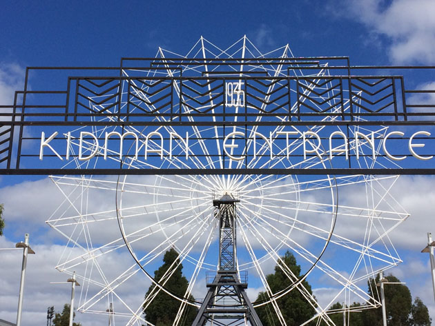 "A metal art deco gate arch reads ""Kidman Entrance"", through the gate looms the structure of an out-of-season ferris wheel. The gate and wheel are surrounded by treetops, and over-arched by a blue sky with white fluffy clouds."