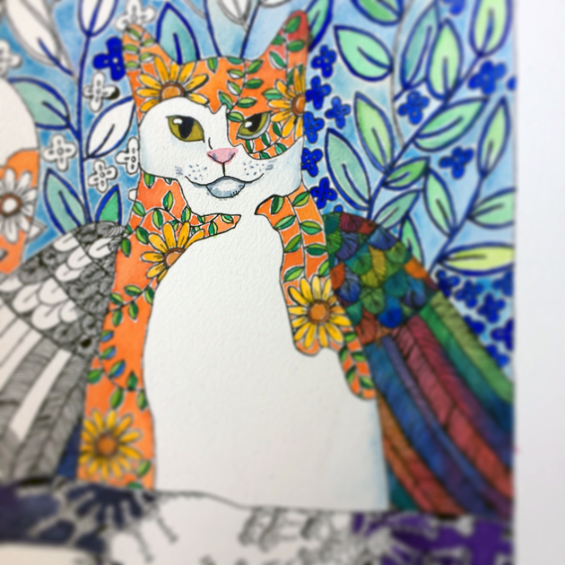 artwork in progress of winged cat, some of the picture is brightly coloured, other areas still white paper with black pen drawing. Lots of detail in the wing feathers.