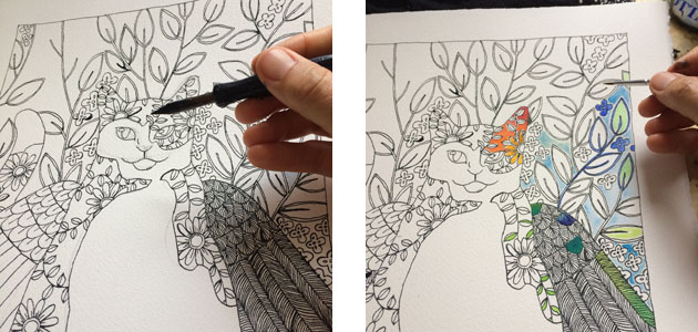 Two stages of a hand drawing a winged cat picture, the first is black and white drawing, in the second the painted colour is started.