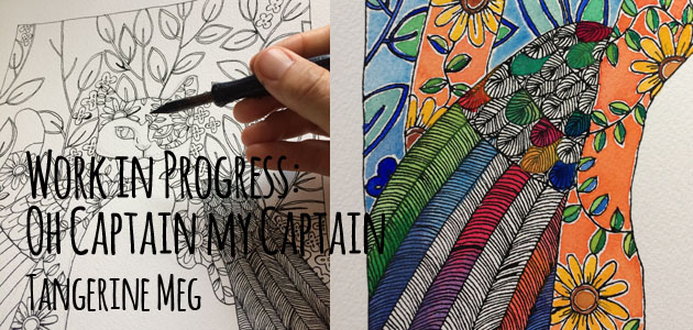 """Two stages of a drawing a winged cat picture: the first is black and white drawing. the second has a colourful wing. Overlaid with text reading """"Work in Progress: Oh Captain my captain"""" """"Tangerine Meg"""""""